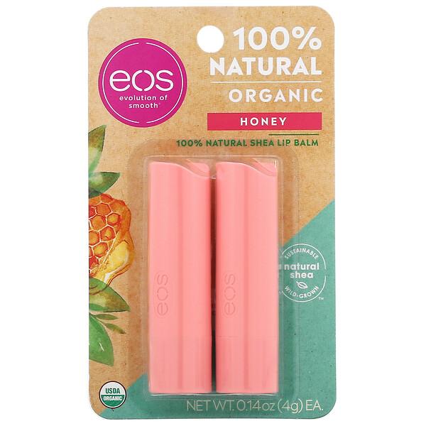100% Natural Shea Lip Balm, Honey, 2 Pack, 0.14 oz (4 g) Each