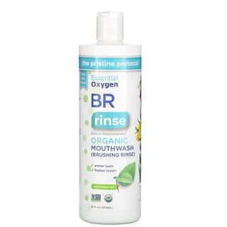 Essential Oxygen, BRオーガニックマウスウォッシュ、ブラッシングリンス、ペパーミント、473ml(16液量オンス)