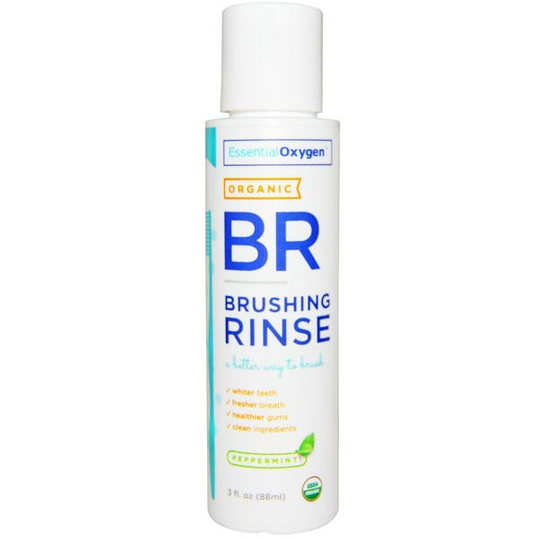 Essential Oxygen, Organic Brushing Rinse, Peppermint, 3 fl oz (88 ml) (Discontinued Item)