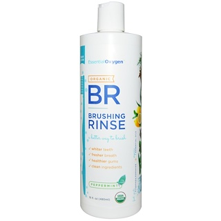 Essential Oxygen, Organic Brushing Rinse, Peppermint, 16 fl oz (480 ml)