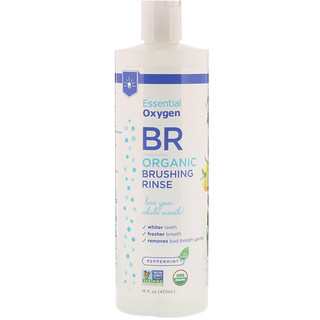 Essential Oxygen, BR Organic Brushing Rinse, Peppermint, 16 fl oz (480 ml)