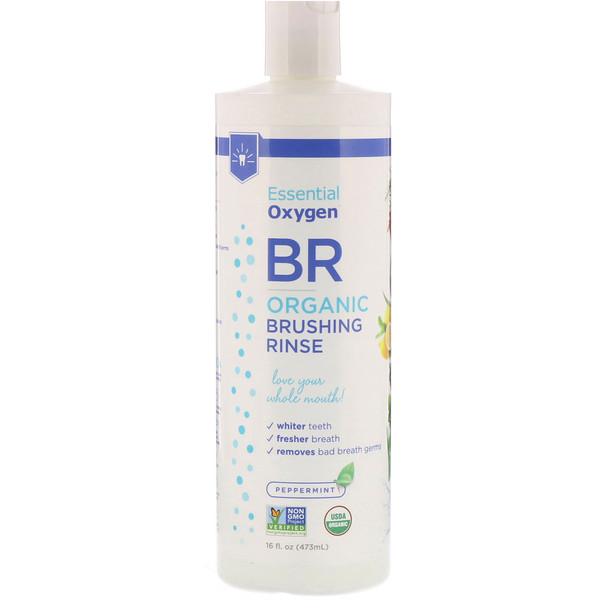 Essential Oxygen, BR Organic Brushing Rinse, Peppermint, 16 fl oz (473 ml)