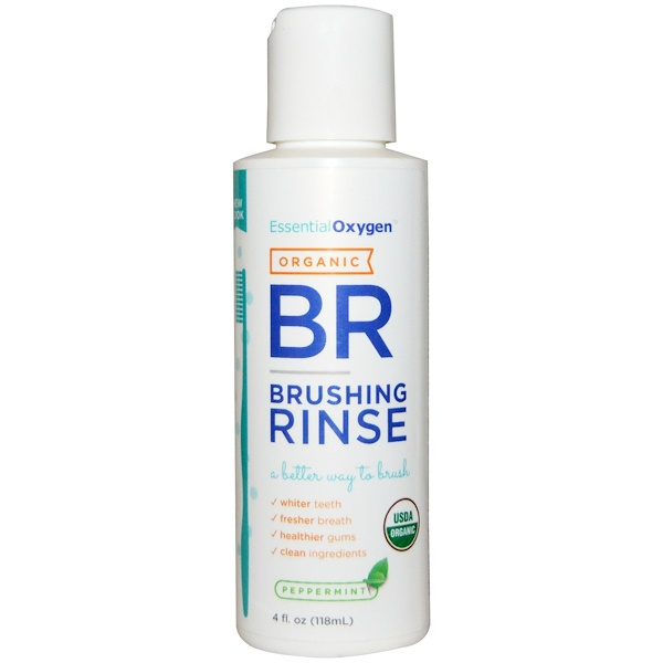 Essential Oxygen, Organic Brushing Rinse, Peppermint, 4 fl oz (118 ml) (Discontinued Item)
