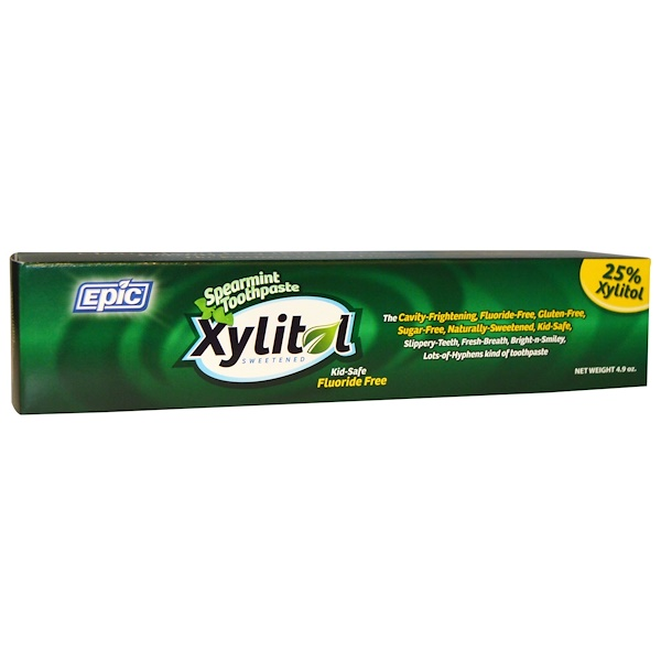 Epic Dental, Kid Safe, Xylitol Sweetened, Spearmint Toothpaste, Fluoride Free, 4.9 oz (Discontinued Item)