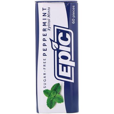 Epic Dental 100% Подслащенный ксилит, Конфеты с мятой перечной, Без сахара, 30 г