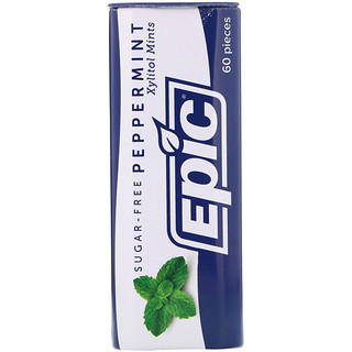 Epic Dental, Xylitol Mints, Peppermint, Sugar-Free, 60 Pieces