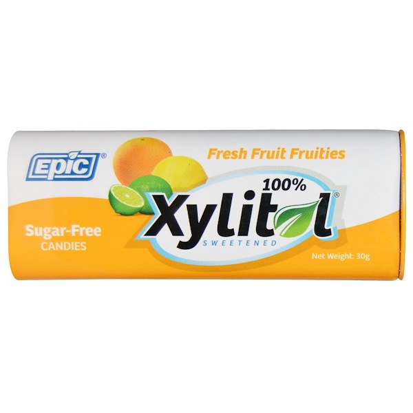 100% Xylitol Sweetened Candies, Fresh Fruit Fruities, Sugar-Free, 30 g