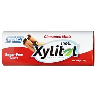 Epic Dental, 100% Xylitol Sweetened, Cinnamon Mints, Sugar-Free, 30 g