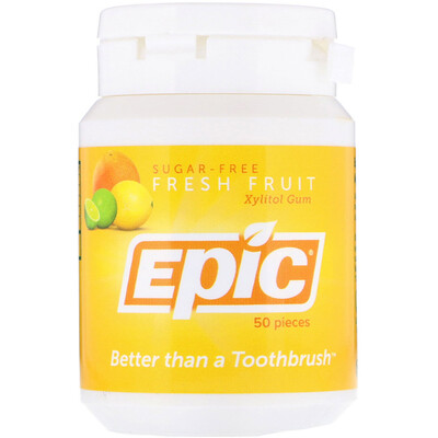Epic Dental Xylitol Gum, Sugar-Free, Fresh Fruit, 50 Pieces