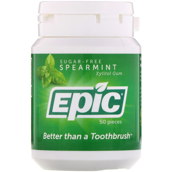 Xylitol Gum, Sugar Free, Spearmint, 50 Pieces