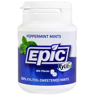 Epic Dental, Xylitol Mints, Sugar Free, Peppermint, 180 Pieces