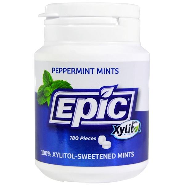 Epic Dental, Xylitol Mints, Sugar-Free, Peppermint, 180 Pieces