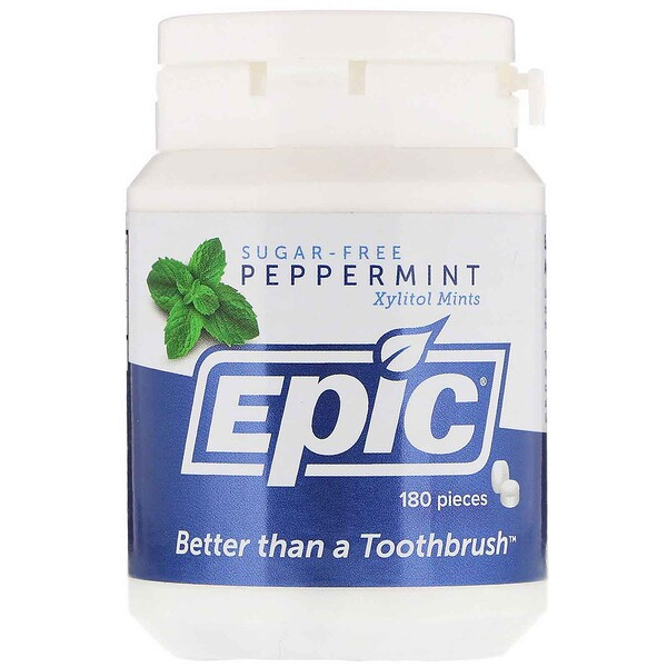 Epic Dental, Xylitol Mints, Sugar-Free, Peppermint, 180 Pieces