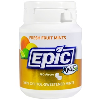Epic Dental, 100% Xylitol Sweetened, Fresh Fruit Mints, 180 Pieces