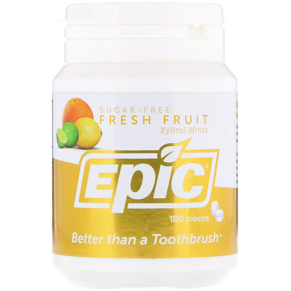 Epic Dental, 全甜味木糖醇,鮮果薄荷糖,180片