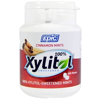 Epic Dental, 100% Xylitol-Sweetened, Cinnamon Mints, 180 Pieces