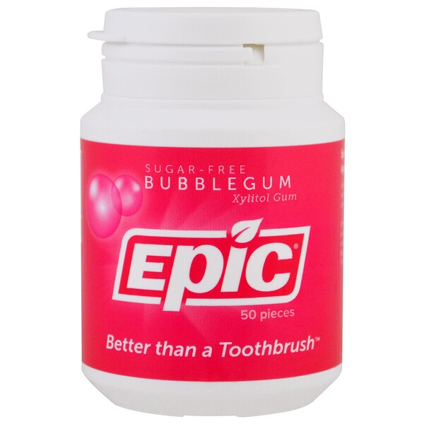 Epic Dental, Xylitol 口香糖,無糖,泡泡糖口味,50 粒