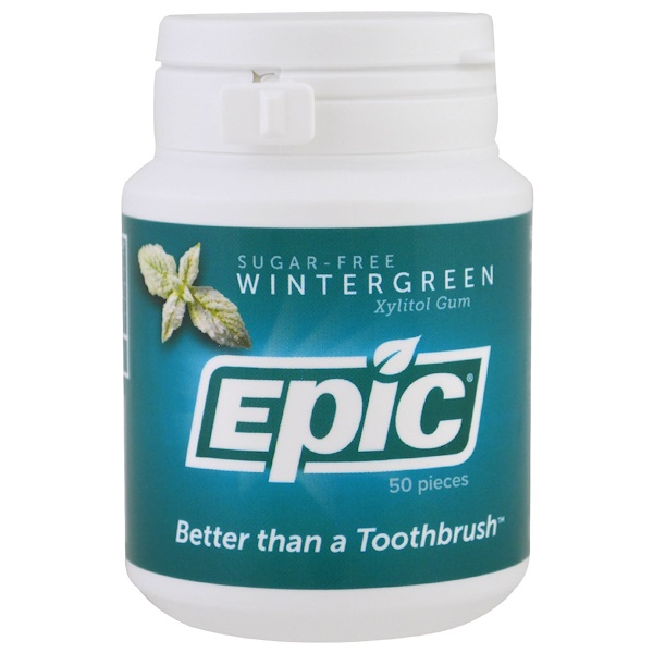 Epic Dental, Xylitol Gum, Sugar-Free, Wintergreen, 50 Pieces