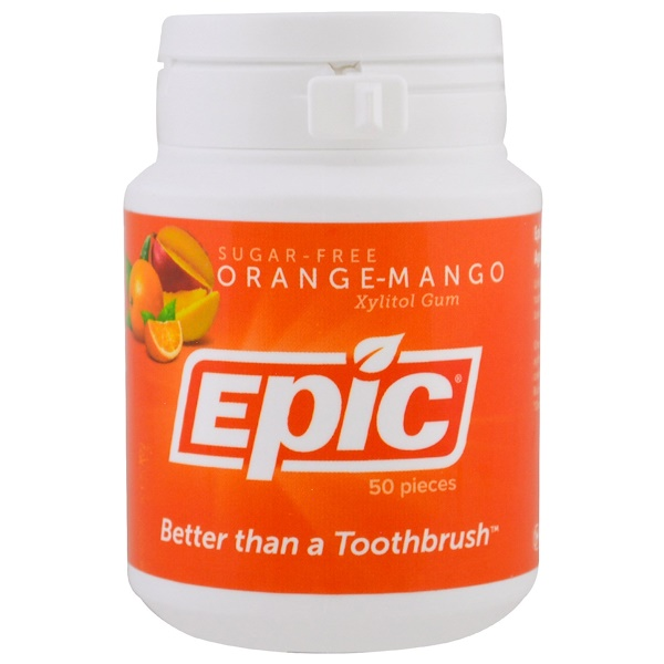 Epic Dental, Xylitol Gum, Sugar-Free, Orange-Mango, 50 Pieces