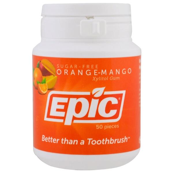 Epic Dental, Xylitol Gum, Sugar-Free, Orange-Mango, 50 Pieces (Discontinued Item)