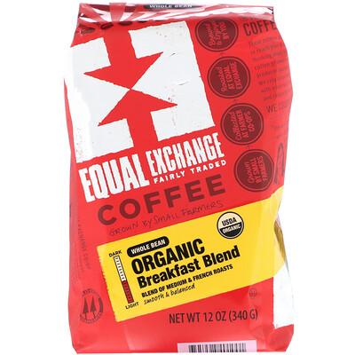 Купить Equal Exchange Organic, Coffee, Breakfast Blend, Whole Bean, 12 oz (340 g)
