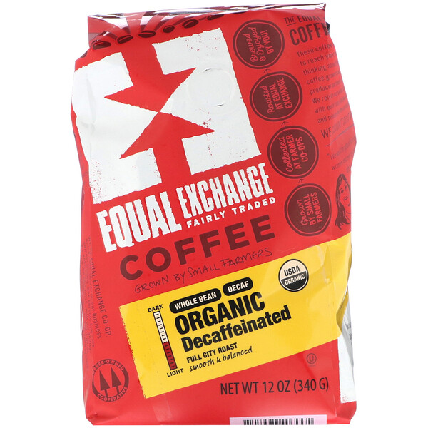 Equal Exchange, Organic, Coffee, Decaffeinated, Full City Roast, Whole Bean, 12 oz (340 g)