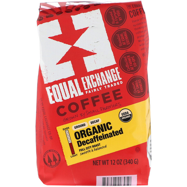 Equal Exchange, Organic, Coffee, Decaffeinated, Full City Roast, Ground, 12 oz (340 g)