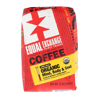 Equal Exchange, Organic, Coffee, Mind Body & Soul, Whole Bean, 12 oz (340 g)