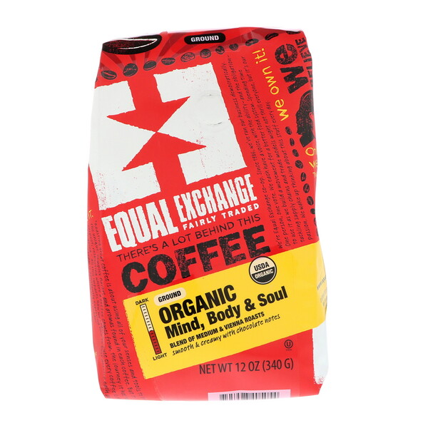 Equal Exchange, Organic, Coffee, Mind Body & Soul, Ground, 12 oz (340 g)