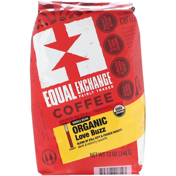 Equal Exchange, Organic Whole Bean Coffee, Love Buzz, 12 oz (340 g)