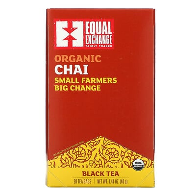 Купить Equal Exchange Organic Chai Black Tea, 20 Tea Bags, 1.41 oz (40 g)