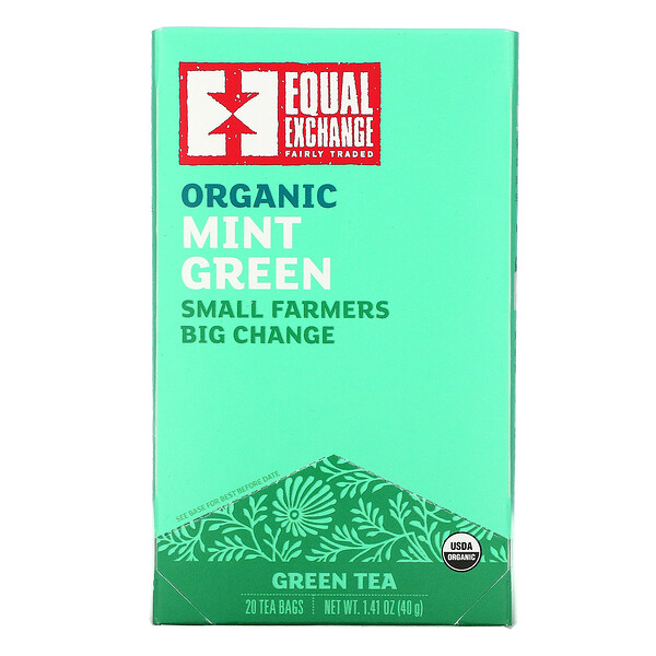 Organic Mint Green, Green Tea, 20 Tea Bags, 1.41 oz (40 g)