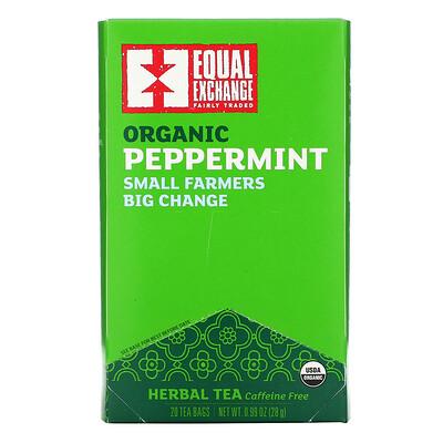 Купить Equal Exchange Organic Peppermint Herbal Tea, Caffeine Free, 20 Tea Bags, 0.99 oz (28 g)