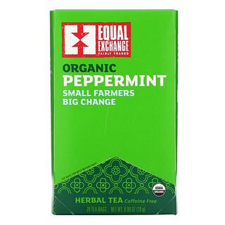 Equal Exchange, Organic Peppermint Herbal Tea, Caffeine Free, 20 Tea Bags, 0.99 oz (28 g)