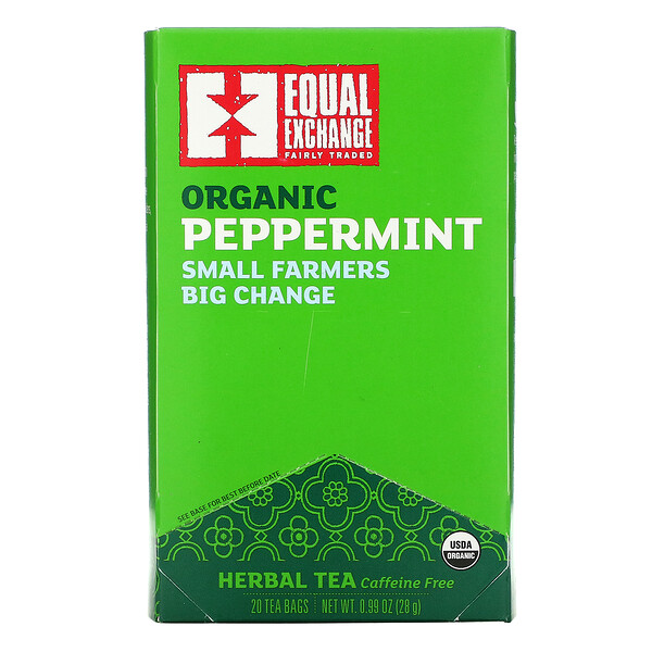 有机薄荷,草本茶,无咖啡萃取,20 茶包,0.99 盎司(28 克)