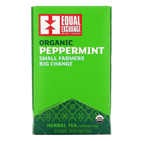Organic Peppermint Herbal Tea, Caffeine Free, 20 Tea Bags, 0.99 oz (28 g)
