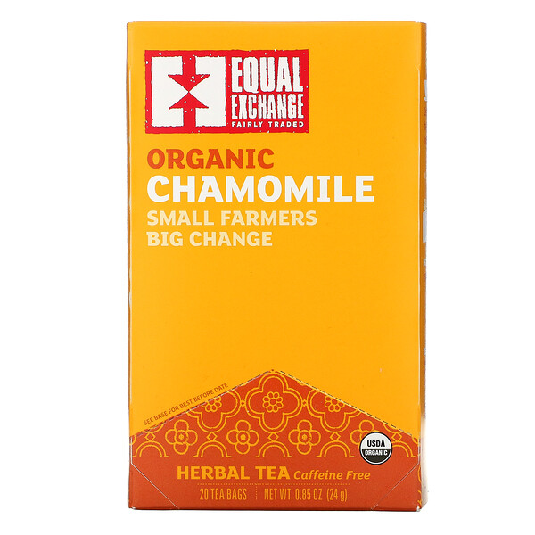 Organic Chamomile Herbal Tea, Caffeine Free, 20 Tea Bags, 0.85 oz (24 g)