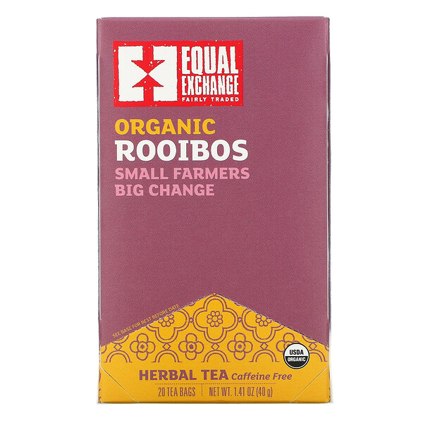 Organic Rooibos, Herbal Tea, 20 Tea Bags, 1.41 oz (40 g)