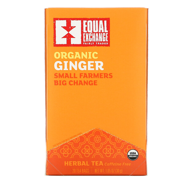 Organic Ginger, Herbal Tea, Caffeine Free, 20 Tea Bags, 1.05 oz ( 30 g)