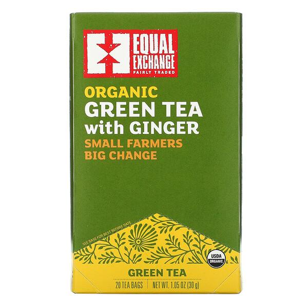 Organic Green Tea With Ginger, 20 Tea Bags, 1.05 oz ( 30 g)