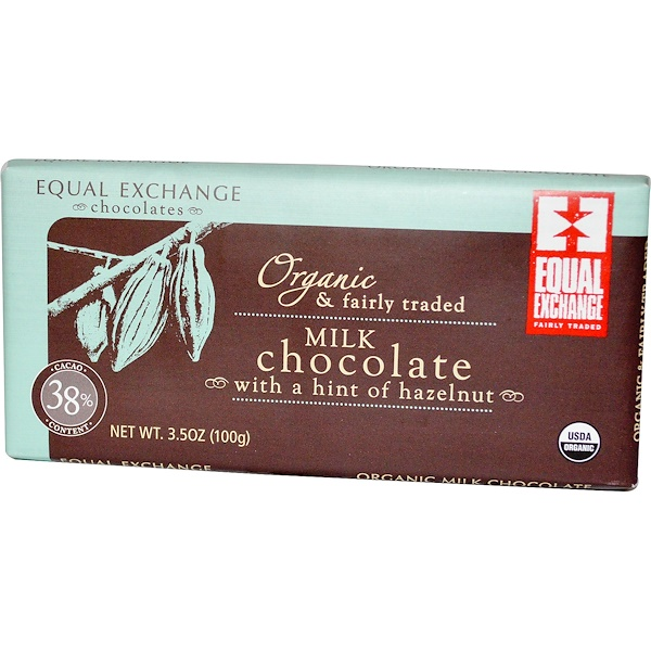 Equal Exchange, Organic Milk Chocolate with a Hint of Hazelnut, 3.5 oz (100 g) (Discontinued Item)