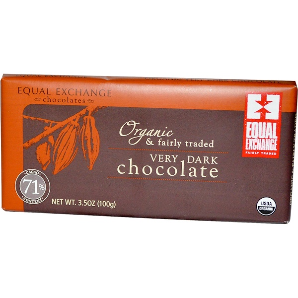 Equal Exchange, Organic Very Dark Chocolate, 3.5 oz (100 g) (Discontinued Item)