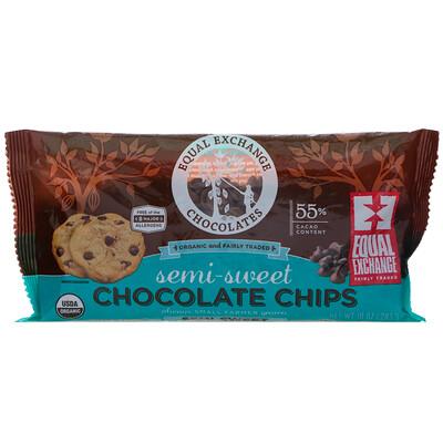 Купить Equal Exchange Organic, Chocolate Chips, Semi-Sweet, 55% Cacao, 10 oz (283.5 g)