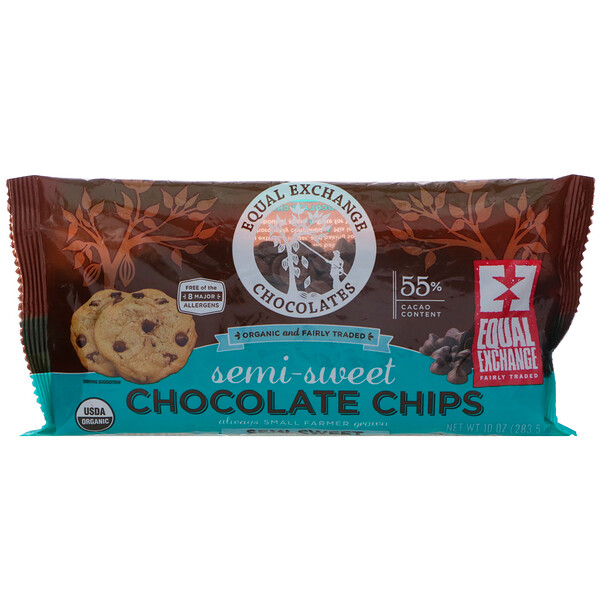 Equal Exchange, Organic, Chocolate Chips, Semi-Sweet, 55% Cacao, 10 oz (283.5 g)