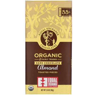 Купить Органический темный шоколад, кусочки поджаренного миндаля, 2, 8 унции (80 г)