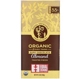 Equal Exchange, Chocolate Meio-Amargo Orgânico, Pedaços de Amêndoas Torradas, 2,8 oz (80 g)
