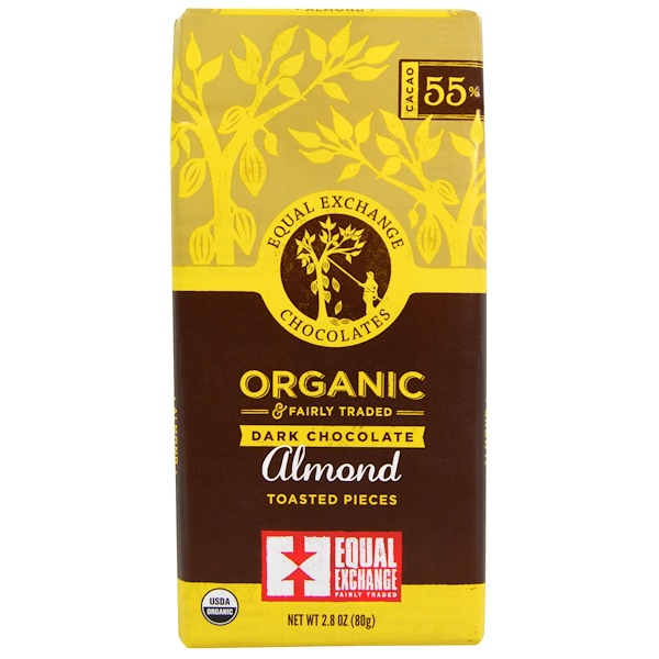 Equal Exchange, Organic Dark Chocolate, Almond Toasted Pieces  2.8 oz (80 g) (Discontinued Item)