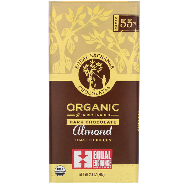 Organic Dark Chocolate, Almond Toasted Pieces  2.8 oz (80 g)