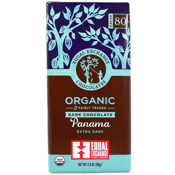 Equal Exchange, Organic, Dark Chocolate, Panama Extra Dark, 80% Cacao, 2.8 oz (80 g)