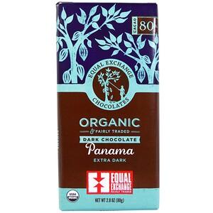 Equal Exchange, Органический, темный шоколад, Панамский сверхтемный, 2,8 унции (80 г)